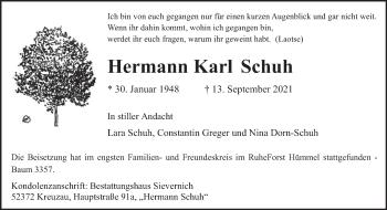 Traueranzeige von Hermann Karl Schuh von trierischer_volksfreund