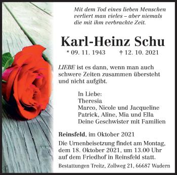 Traueranzeige von Karl-Heinz Schu von trierischer_volksfreund
