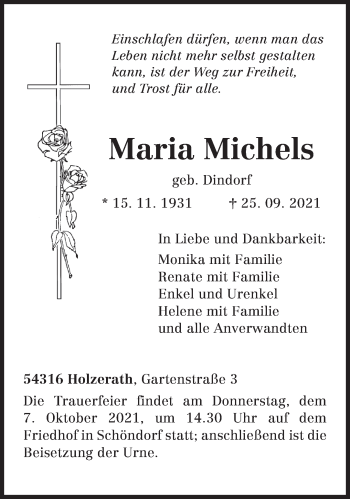 Traueranzeige von Maria Michels von trierischer_volksfreund