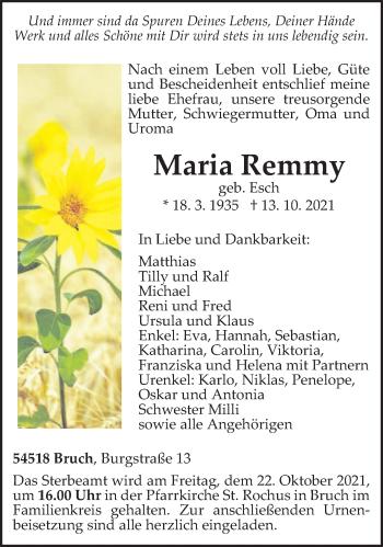 Traueranzeige von Maria Remmy von trierischer_volksfreund