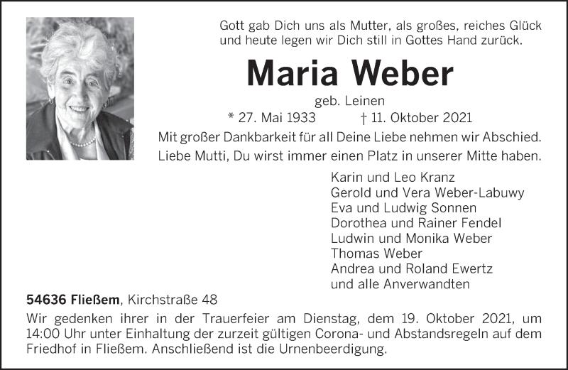 Traueranzeige für Maria Weber vom 14.10.2021 aus trierischer_volksfreund