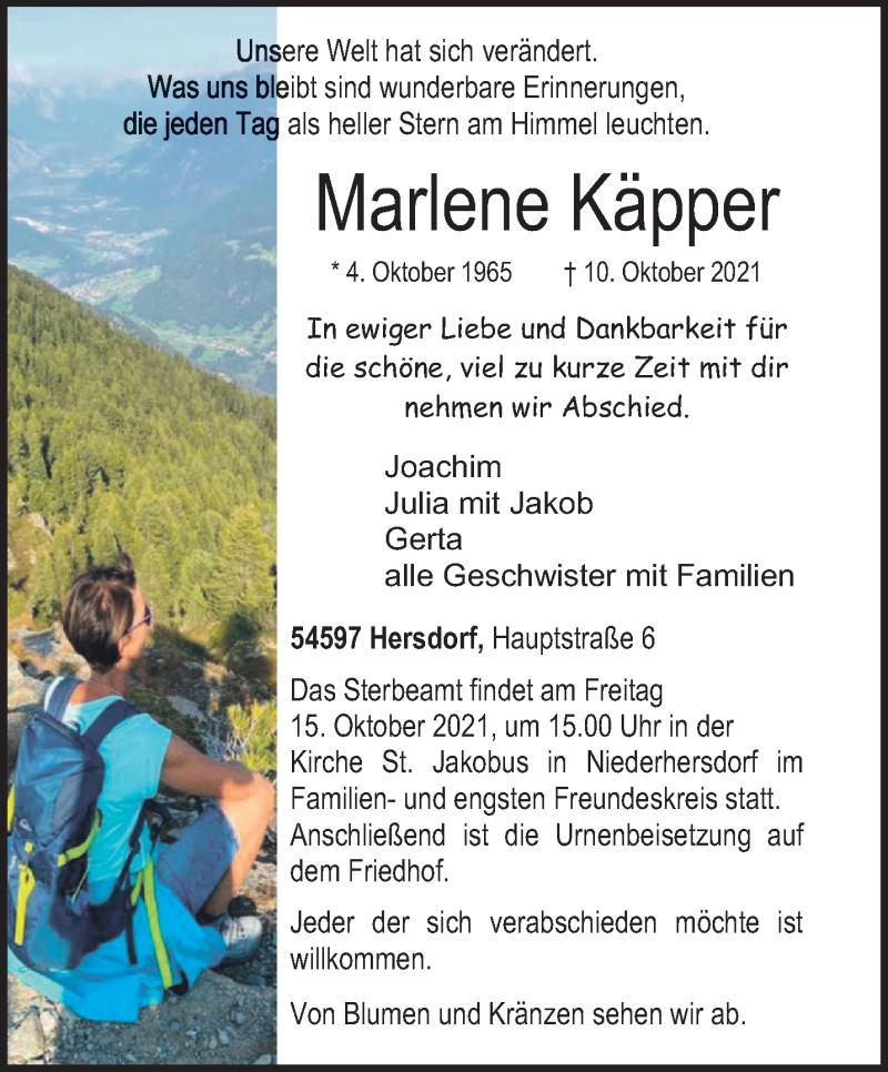 Traueranzeige für Marlene Käpper vom 13.10.2021 aus trierischer_volksfreund