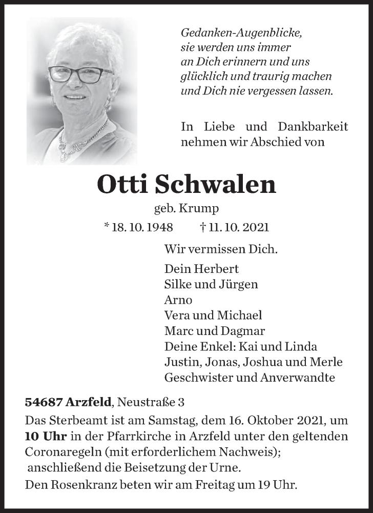 Traueranzeige für Otti Schwalen vom 14.10.2021 aus trierischer_volksfreund