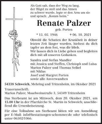 Traueranzeige von Renate Palzer von trierischer_volksfreund