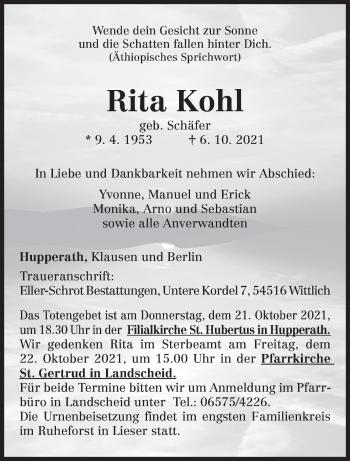 Traueranzeige von Rita Kohl von trierischer_volksfreund