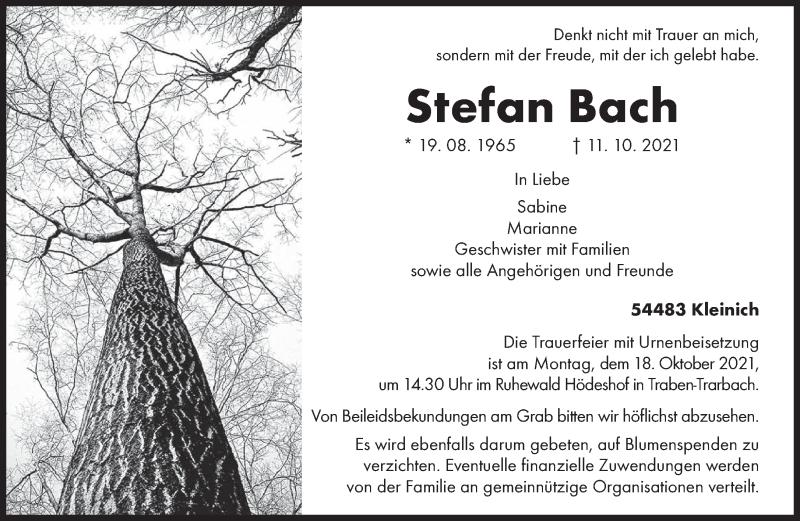Traueranzeige für Stefan Bach vom 13.10.2021 aus trierischer_volksfreund