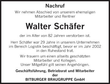 Traueranzeige von Walter Schäfer von trierischer_volksfreund