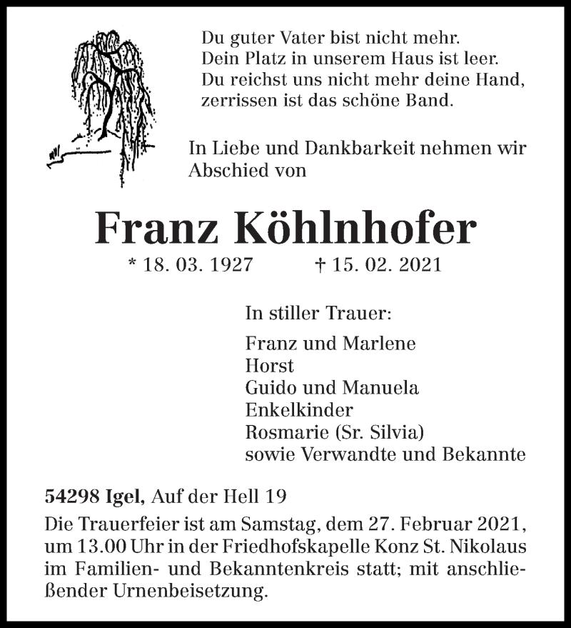 Traueranzeige für Franz Köhlnhofer vom 20.02.2021 aus trierischer_volksfreund