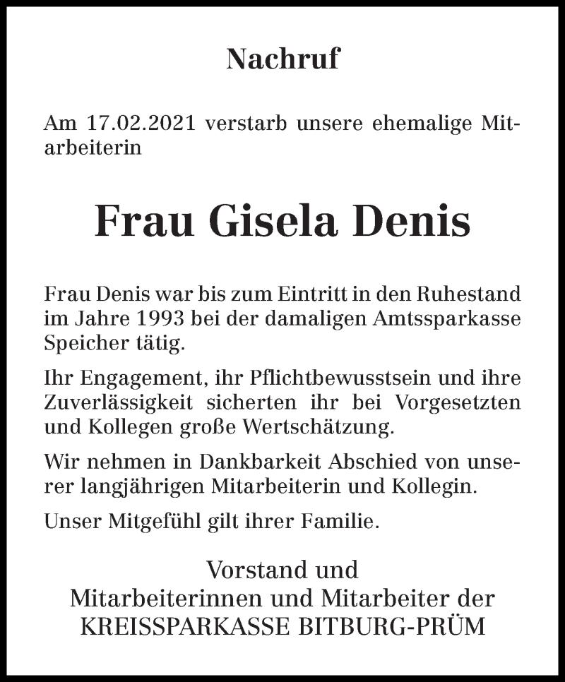 Traueranzeige für Gisela Denis vom 23.02.2021 aus trierischer_volksfreund