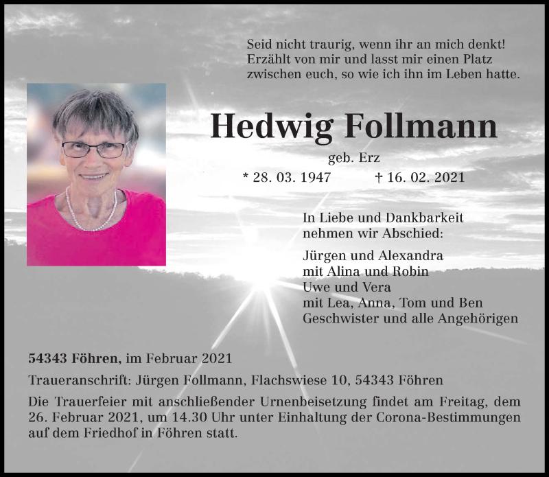 Traueranzeige für Hedwig Follmann vom 20.02.2021 aus trierischer_volksfreund