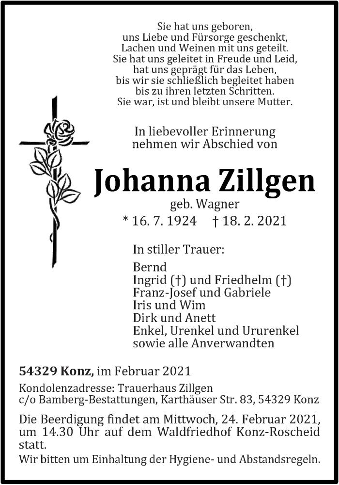 Traueranzeige für Johanna Zillgen vom 22.02.2021 aus trierischer_volksfreund