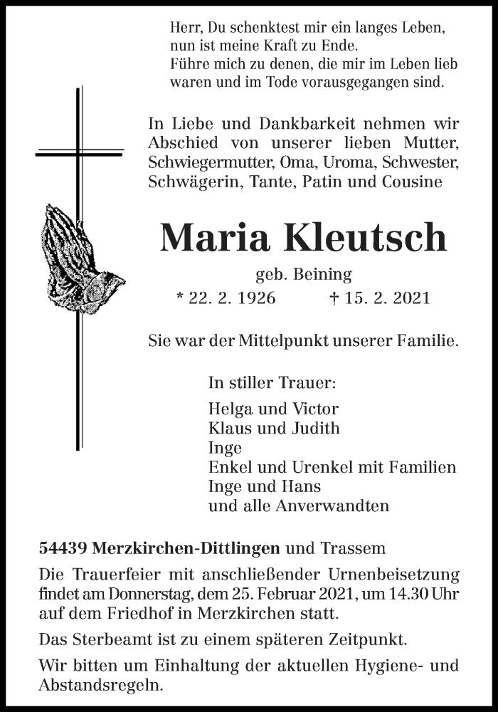 Traueranzeige für Maria Kleutsch vom 19.02.2021 aus trierischer_volksfreund