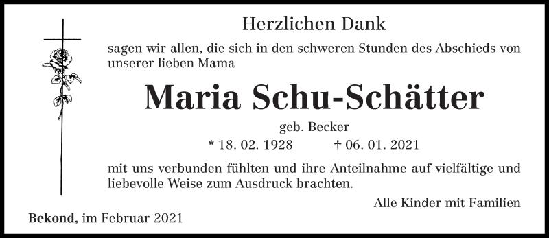 Traueranzeige für Maria Schu-Schätter vom 15.02.2021 aus trierischer_volksfreund