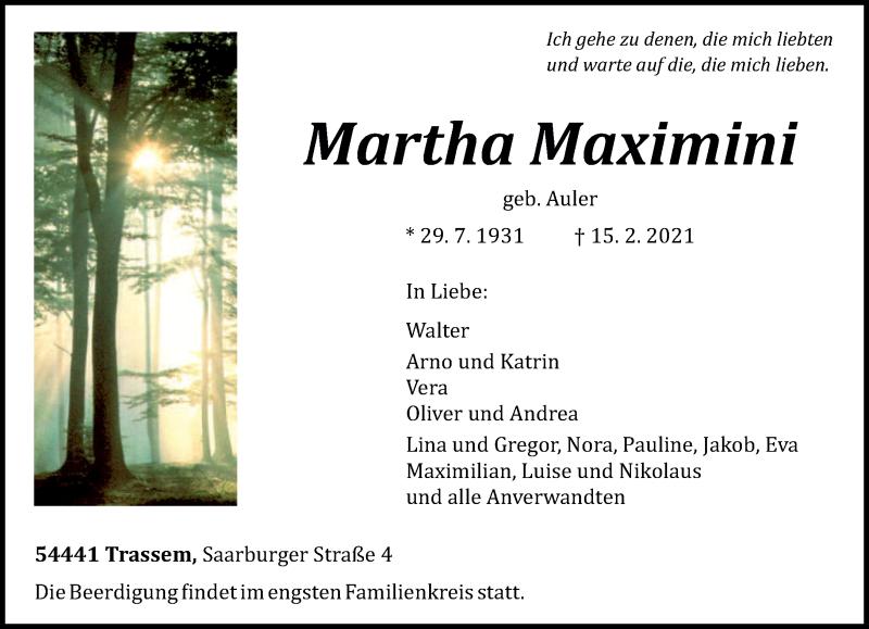 Traueranzeige für Martha Maximini vom 20.02.2021 aus trierischer_volksfreund