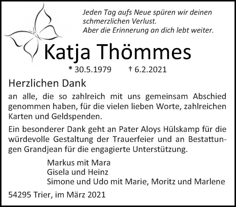 Traueranzeige für Katja Thömmes vom 13.03.2021 aus trierischer_volksfreund
