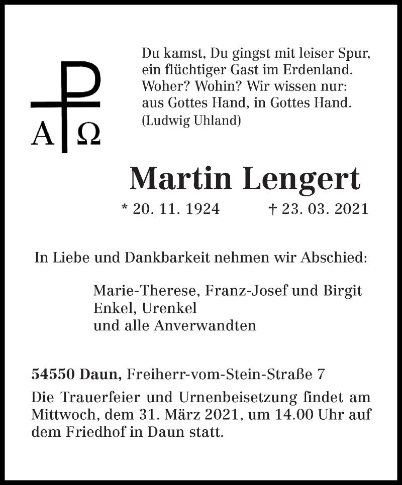 Traueranzeige für Martin Lengert vom 27.03.2021 aus trierischer_volksfreund