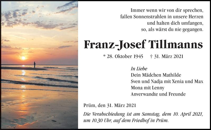 Traueranzeige für Franz-Josef Tillmanns vom 07.04.2021 aus trierischer_volksfreund