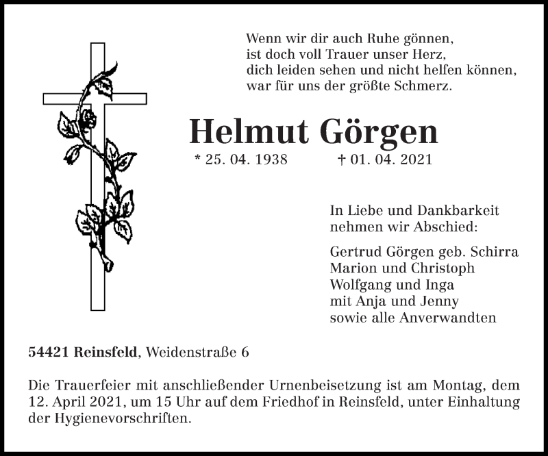 Traueranzeige für Helmut Görgen vom 07.04.2021 aus trierischer_volksfreund
