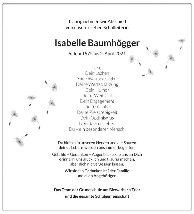 Traueranzeige für Isabelle Baumhögger vom 10.04.2021 aus trierischer_volksfreund