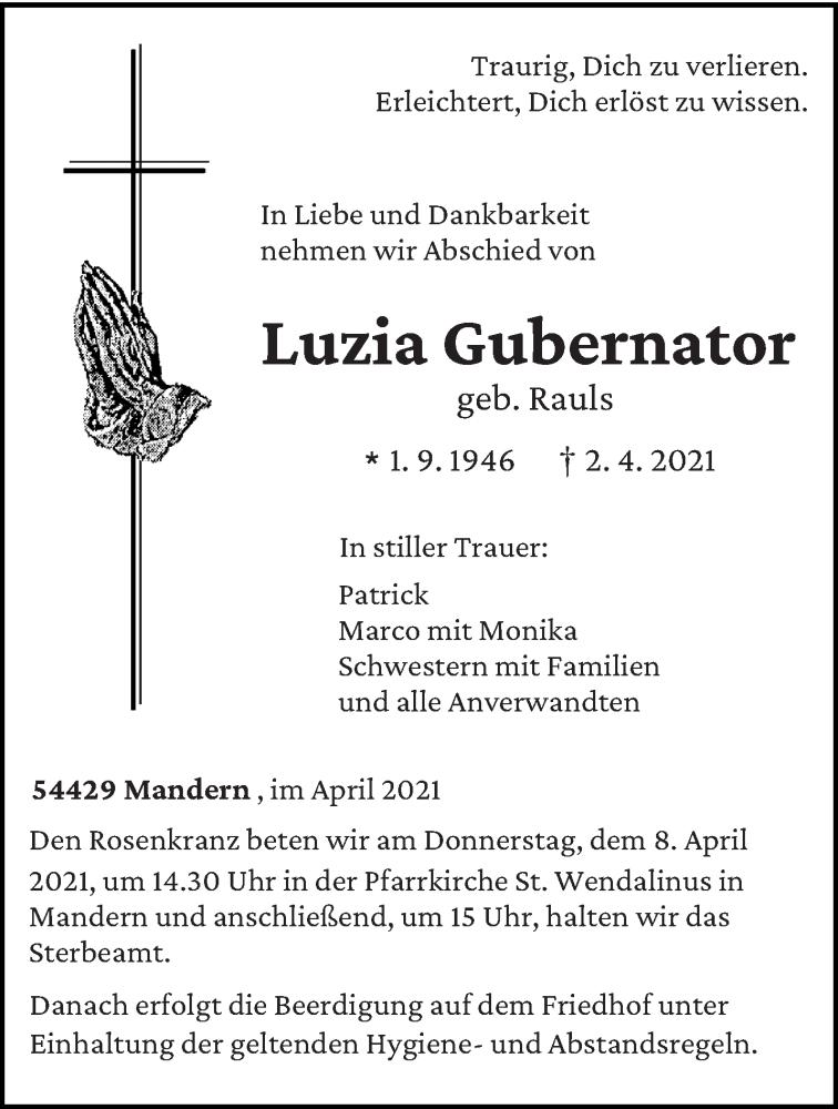 Traueranzeige für Luzia Gubernator vom 06.04.2021 aus trierischer_volksfreund