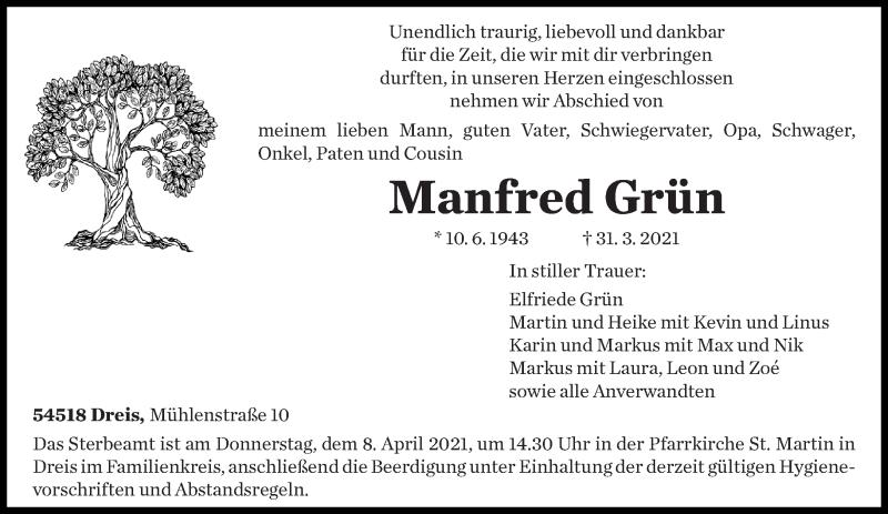 Traueranzeige für Manfred Grün vom 03.04.2021 aus trierischer_volksfreund