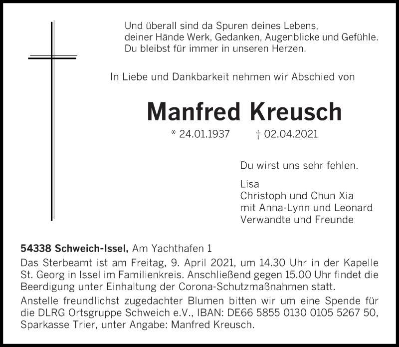 Traueranzeige für Manfred Kreusch vom 06.04.2021 aus trierischer_volksfreund