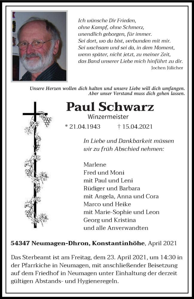 Traueranzeige für Paul Schwarz vom 20.04.2021 aus trierischer_volksfreund
