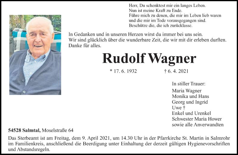 Traueranzeige für Rudolf Wagner vom 07.04.2021 aus trierischer_volksfreund