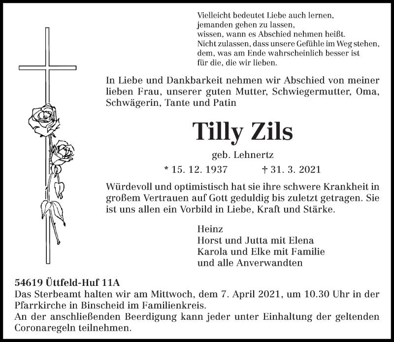 Traueranzeige für Tilly Zils vom 03.04.2021 aus trierischer_volksfreund