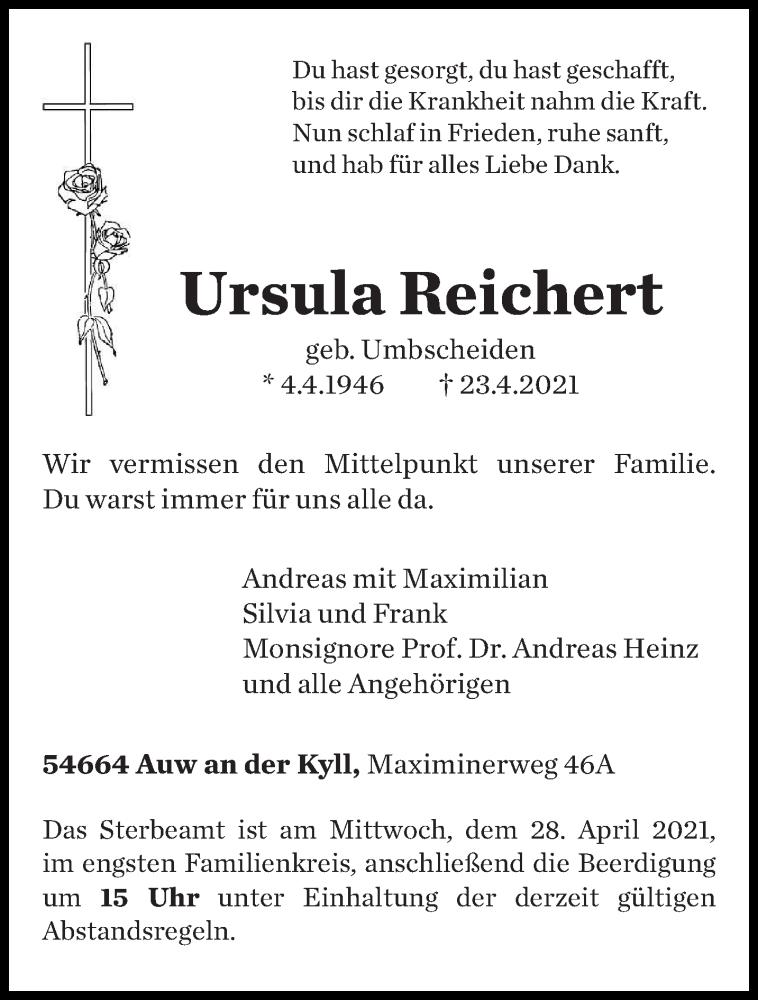Traueranzeige für Ursula Reichert vom 26.04.2021 aus trierischer_volksfreund