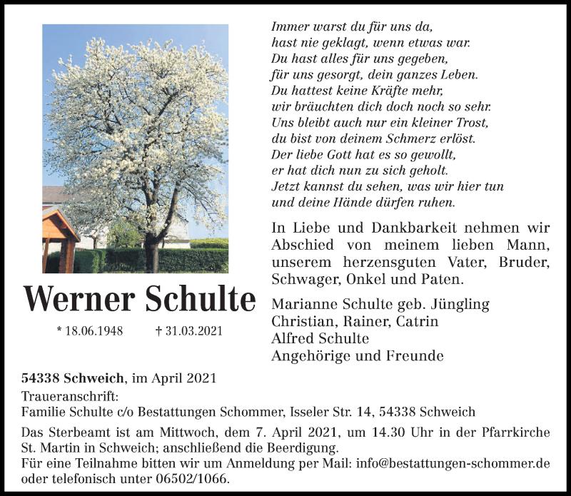 Traueranzeige für Werner Schulte vom 03.04.2021 aus trierischer_volksfreund