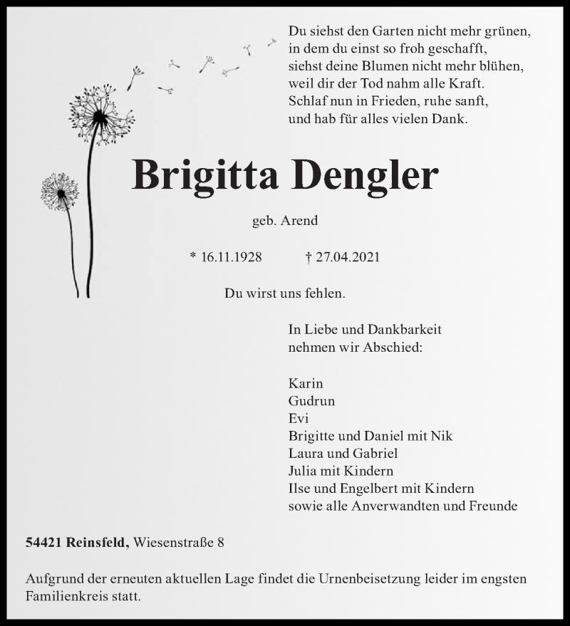 Traueranzeige für Brigitta Dengler vom 30.04.2021 aus trierischer_volksfreund