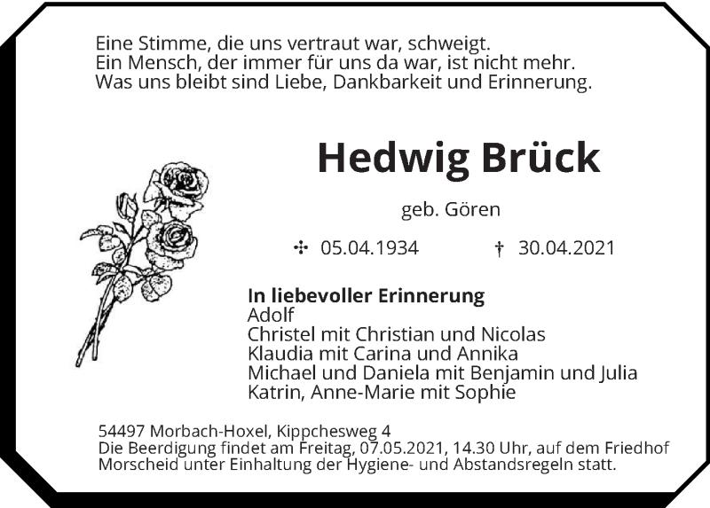 Traueranzeige für Hedwig Brück vom 04.05.2021 aus trierischer_volksfreund