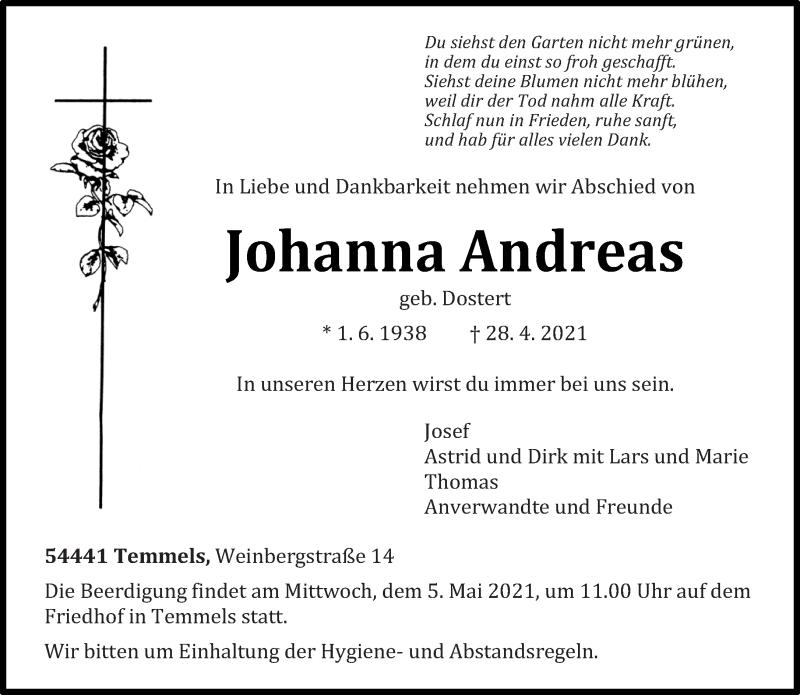 Traueranzeige für Johanna Andreas vom 30.04.2021 aus trierischer_volksfreund
