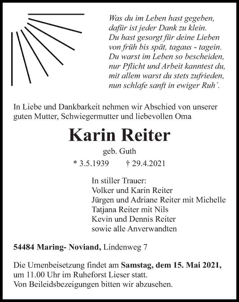Traueranzeige für Karin Reiter vom 03.05.2021 aus trierischer_volksfreund