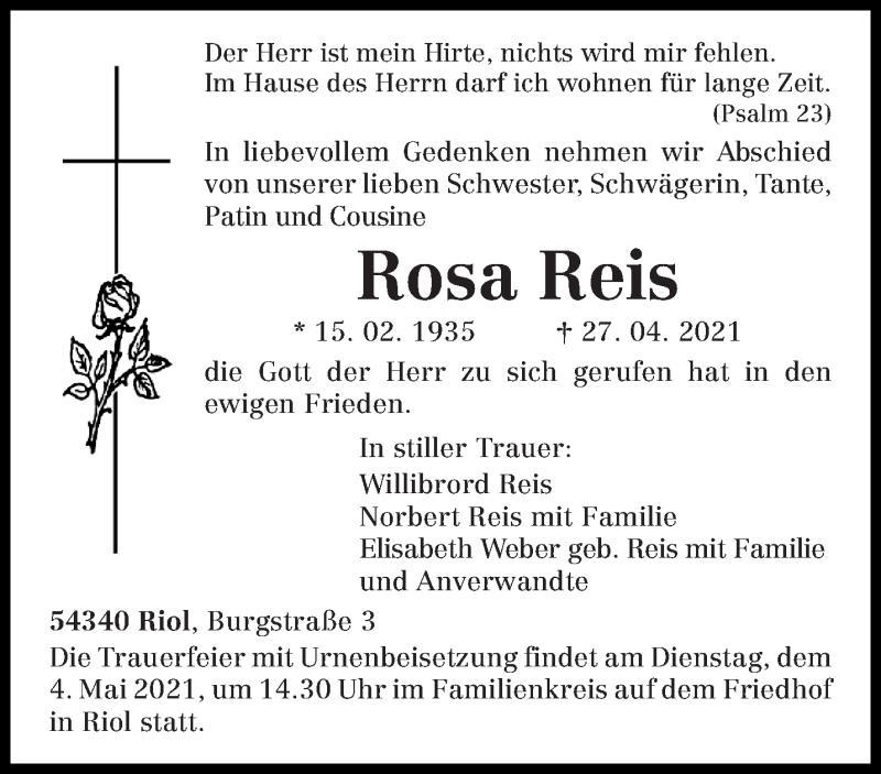 Traueranzeige für Rosa Reis vom 30.04.2021 aus trierischer_volksfreund