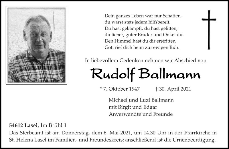 Traueranzeige für Rudolf Ballmann vom 03.05.2021 aus trierischer_volksfreund