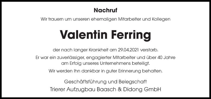 Traueranzeige für Valentin Ferring vom 05.05.2021 aus trierischer_volksfreund