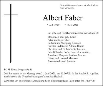 Traueranzeige von Albert Faber von trierischer_volksfreund