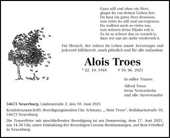 Traueranzeige von Alois Troes von trierischer_volksfreund