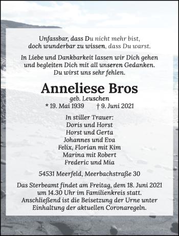 Traueranzeige von Anneliese Bros von trierischer_volksfreund