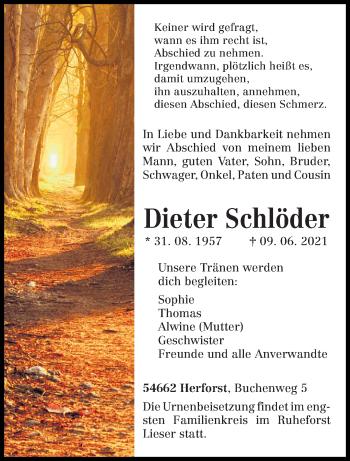 Traueranzeige von Dieter Schlöder von trierischer_volksfreund