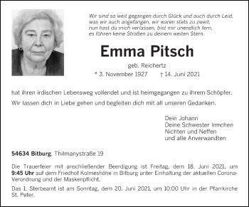 Traueranzeige von Emma Pitsch von trierischer_volksfreund