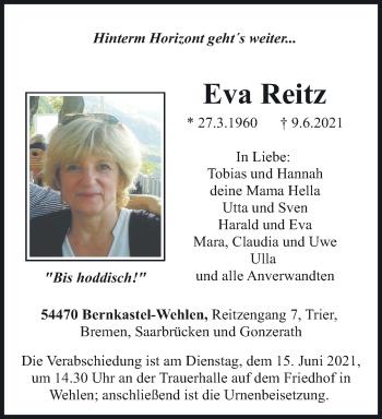 Traueranzeige von Eva Reitz von trierischer_volksfreund