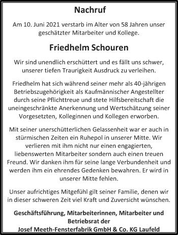 Traueranzeige von Friedhelm Schouren von trierischer_volksfreund