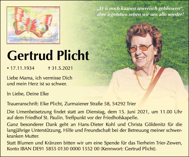 Traueranzeige für Gertrud Plicht vom 11.06.2021 aus trierischer_volksfreund
