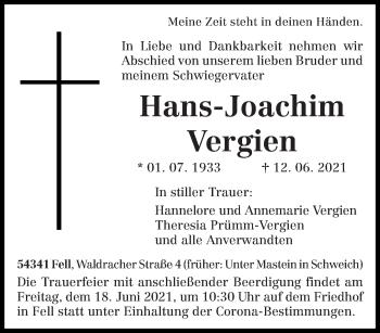 Traueranzeige von Hans-Joachim Vergien von trierischer_volksfreund