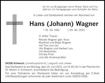 Traueranzeige von Hans  Wagner von trierischer_volksfreund