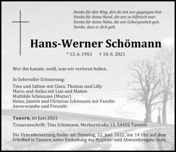 Traueranzeige von Hans-Werner Schömann von trierischer_volksfreund