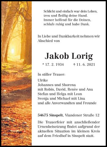 Traueranzeige von Jakob Lorig von trierischer_volksfreund